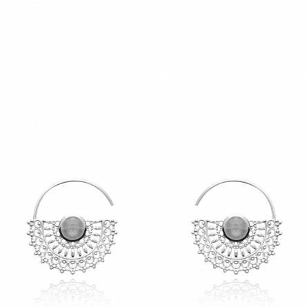 Boucles d'oreilles femme argent Eireann gris