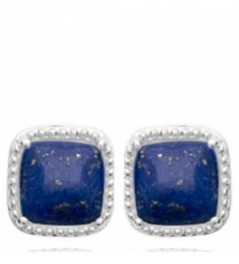Boucles d'oreilles femme argent Galaxi carrée bleu