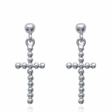 Boucles d'oreilles femme argent Kisber croix