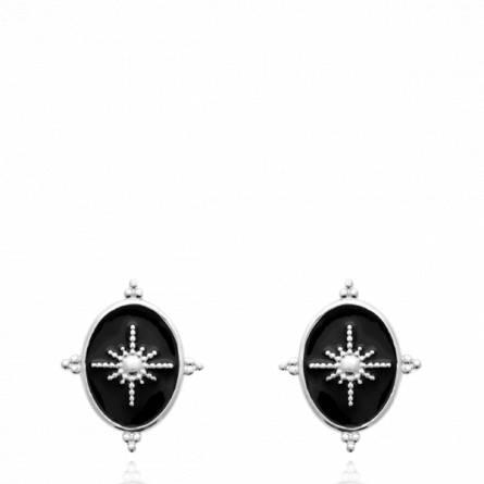 Boucles d'oreilles femme argent Lesiane noir