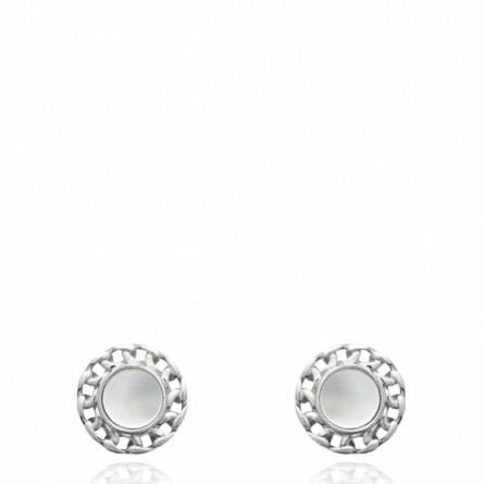 Boucles d'oreilles femme argent Losia ronde blanc