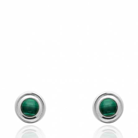 Boucles d'oreilles femme argent Niyae ronde vert