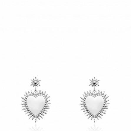 Boucles d'oreilles femme argent Reline coeur