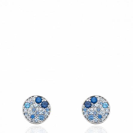 Boucles d'oreilles femme argent Rogeri ronde bleu