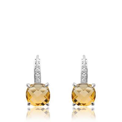 Boucles d'oreilles femme argent Valdenar jaune