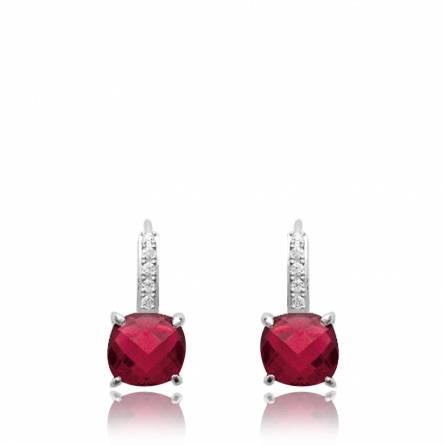 Boucles d'oreilles femme argent Valdenar rouge