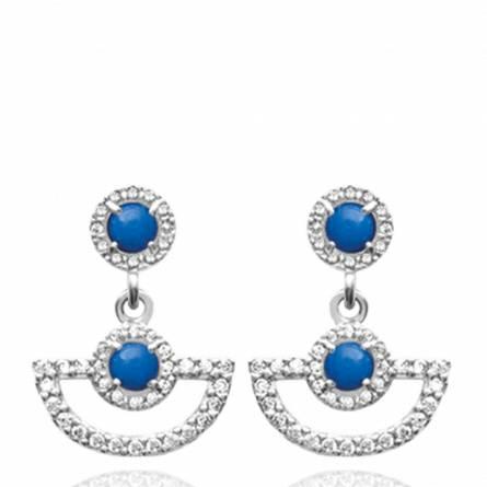 Boucles d'oreilles femme Aspasie arrondie bleu