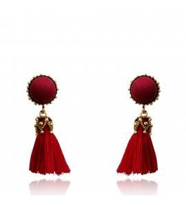 Boucles d'oreilles femme coton Hilana ronde rouge