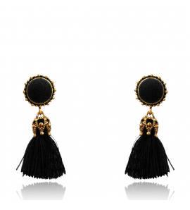 Boucles d'oreilles femme coton Malina ronde noir