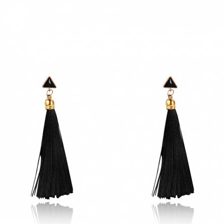 Boucles d'oreilles femme coton Nelina noir