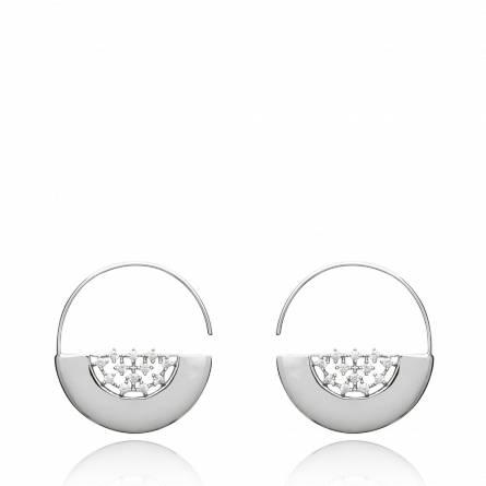 Boucles d'oreilles femme Debra ronde gris