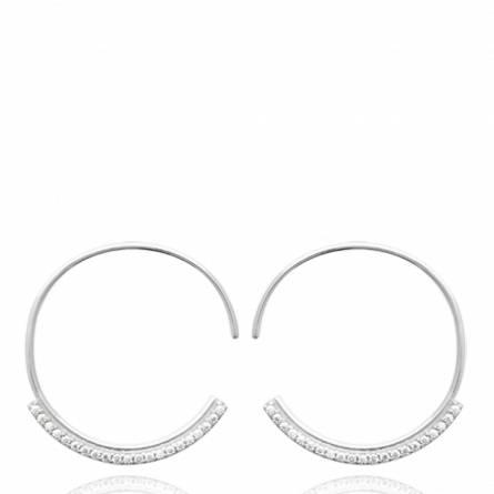 Boucles d'oreilles femme Delia ronde gris