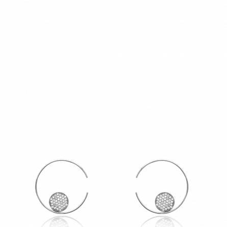 Boucles d'oreilles femme Deniece ronde gris