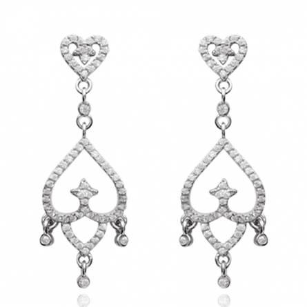 Boucles d'oreilles femme Dinah coeur gris