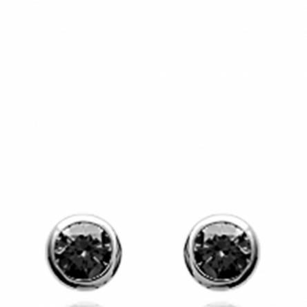 Boucles d'oreilles femme Dodie ronde gris