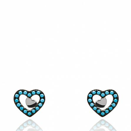 Boucles d'oreilles femme Hearts coeur bleu