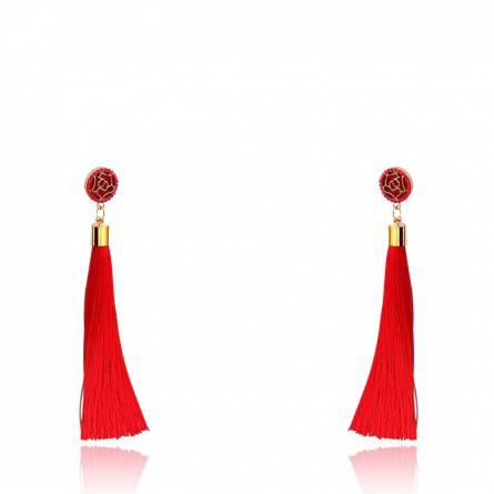 Boucles d'oreilles femme métal doré Cemia rouge