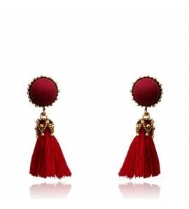 Boucles d'oreilles femme métal doré Hilana ronde rouge