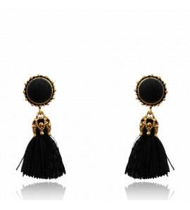 Boucles d'oreilles femme métal doré Malina ronde noir