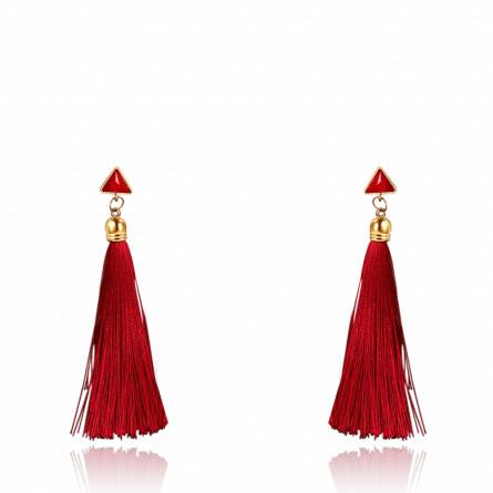 Boucles d'oreilles femme métal doré Zelana rouge