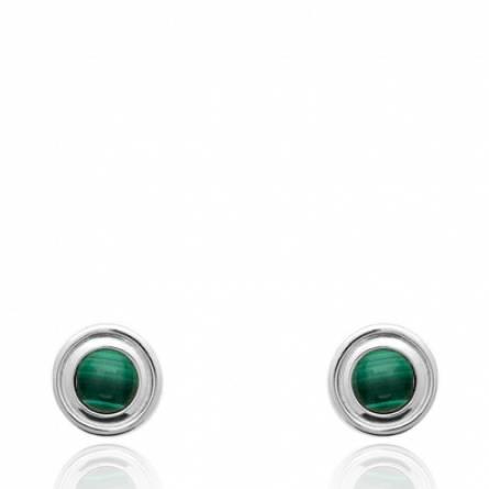 Boucles d'oreilles femme Niyae ronde vert