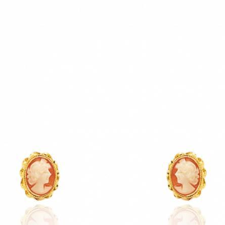Boucles d'oreilles femme or Camée Tolia