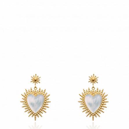 Boucles d'oreilles femme pierre Accard coeur blanc