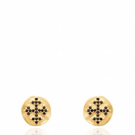 Boucles d'oreilles femme pierre Achia ronde noir