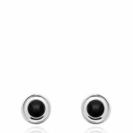Boucles d'oreilles femme pierre Agara ronde noir