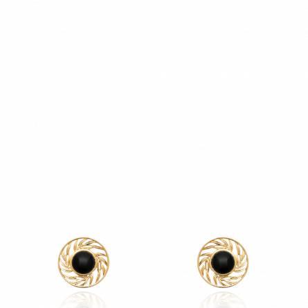 Boucles d'oreilles femme pierre Aneta ronde noir