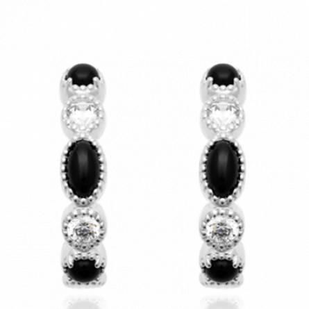 Boucles d'oreilles femme pierre Antuat créoles noir