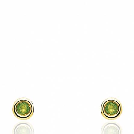 Boucles d'oreilles femme pierre Apeilla emeraude ronde vert