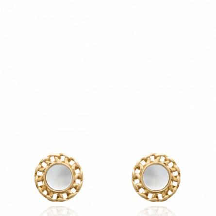 Boucles d'oreilles femme pierre Arcana ronde blanc