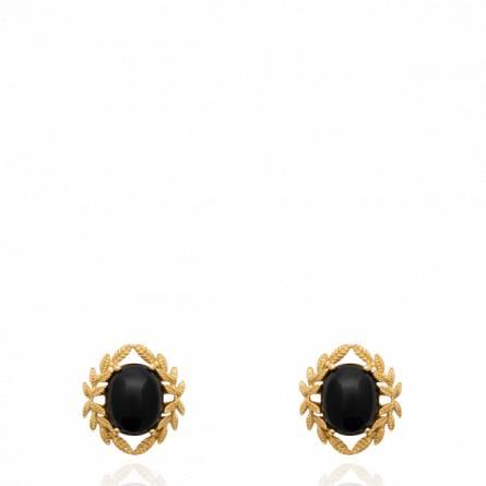 Boucles d'oreilles femme pierre Aselnia noir