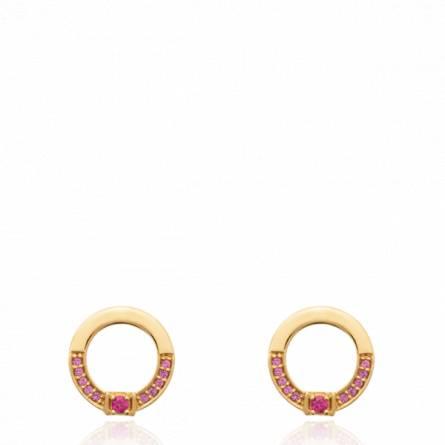 Boucles d'oreilles femme pierre Atieh ronde rose