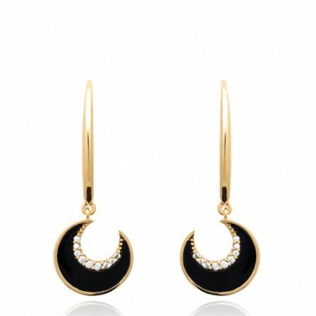 Boucles d'oreilles femme pierre Atigona demi lune noir