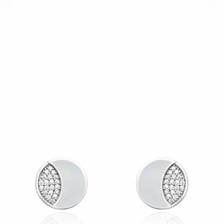 Boucles d'oreilles femme pierre Aunois ronde blanc