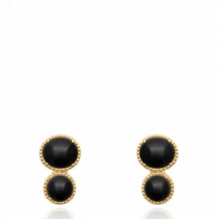 Boucles d'oreilles femme pierre Azelta noir