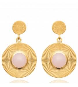 Boucles d'oreilles femme pierre Berora ronde rose