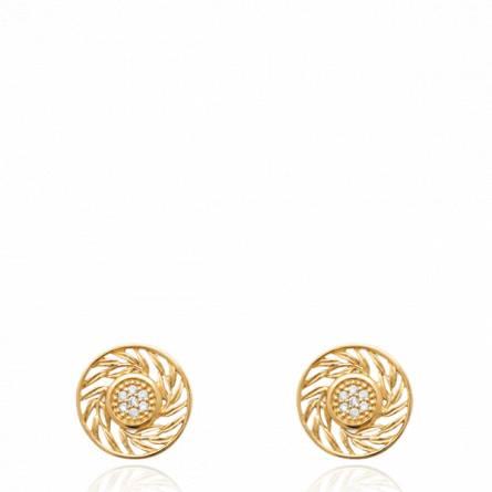 Boucles d'oreilles femme pierre B.odogue ronde