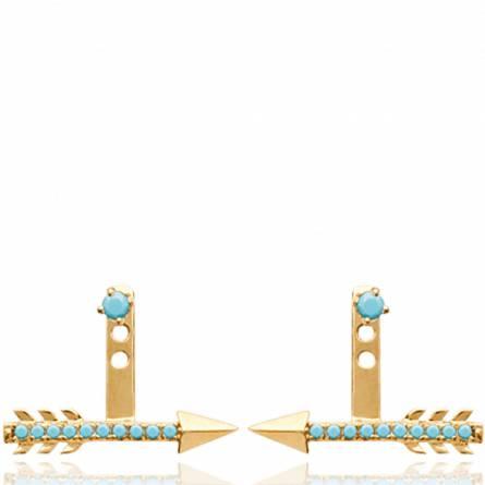 Boucles d'oreilles femme pierre Brisa turquoise
