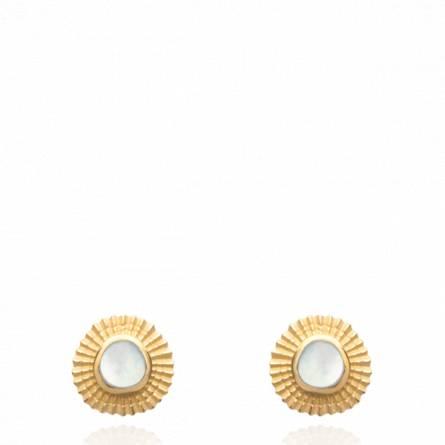 Boucles d'oreilles femme pierre Deltia ronde blanc