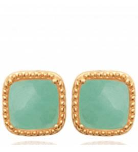 Boucles d'oreilles femme pierre Evalia carrée vert