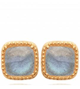 Boucles d'oreilles femme pierre Feliz carrée bleu