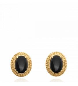 Boucles d'oreilles femme pierre Fereol noir