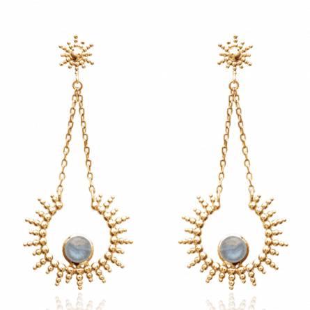 Boucles d'oreilles femme pierre Ferora arrondie bleu