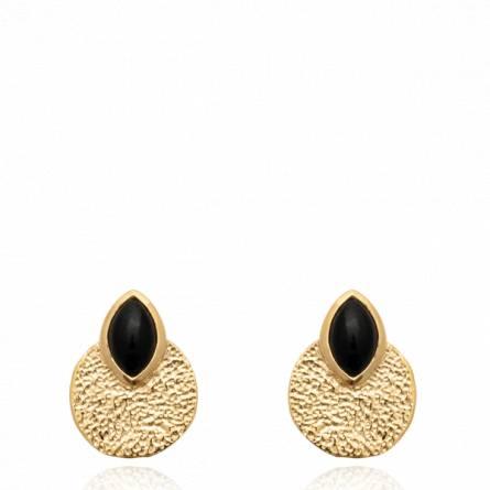 Boucles d'oreilles femme pierre Furiane ronde noir