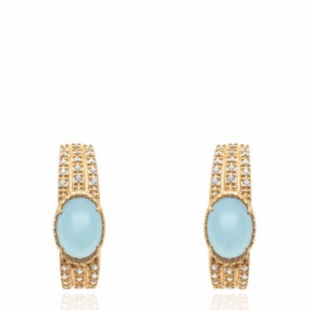 Boucles d'oreilles femme pierre Ganeshan créoles bleu