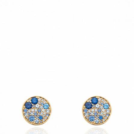 Boucles d'oreilles femme pierre Garay ronde bleu