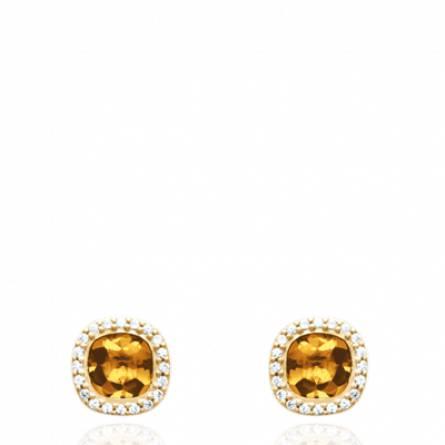 Boucles d'oreilles femme pierre Guelia carrée jaune